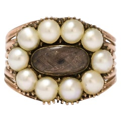 Antique Georgian Pearl Hair Memorial Ring