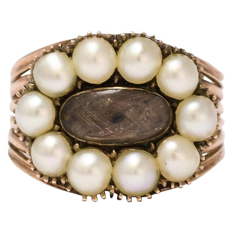 Antique Georgian Pearl Hair Memorial Ring For Sale