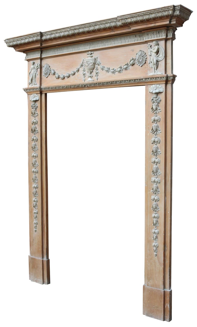 About  This beautiful fire surround originally came from a private residence in Harrogate, England. The fire surround is an unusually small size for this style.   Available individually, or paired with its original grate (pictured)  The fire