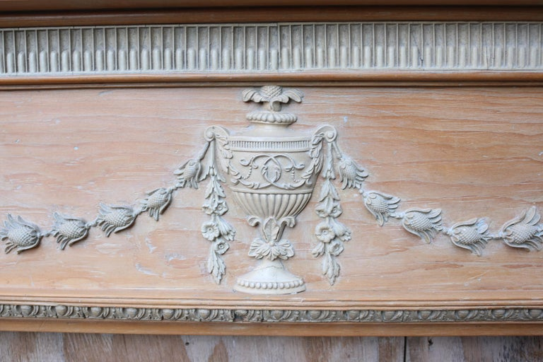 Hand-Crafted Antique Georgian Pine and Composition Fire Surround For Sale