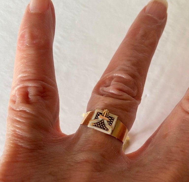 Antique Georgian Rare Envelope Ring For Sale 2