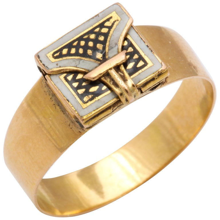 Antique Georgian Rare Envelope Ring For Sale