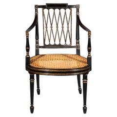 Antique Georgian Regency Black Painted and Gilded Armchair