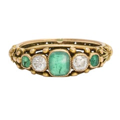 Antique Georgian Regency Period Emerald Diamond Filigree Ring