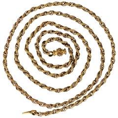 Antique Georgian Regency Pinchbeck Guard Chain Necklace
