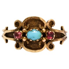 Antique Georgian Regency Turquoise Ruby Scroll Ring