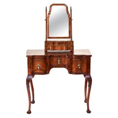 Antique Georgian Revival Burr Walnut Dressing/Vanity Table and Mirror