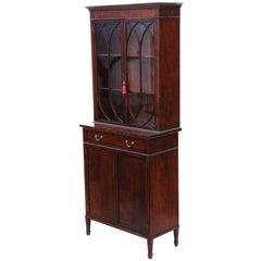 Antique Georgian Revival Mahogany Glazed Bookcase on Cupboard, circa 1890