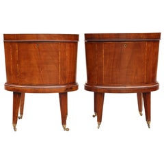 Antique Georgian Revival Pair of Inlaid Mahogany Cellarettes Cupboards Cabinets