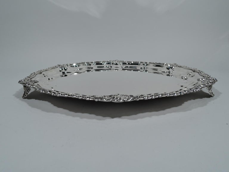 American Antique Georgian Revival Sterling Silver Salver Tray by New York Maker For Sale