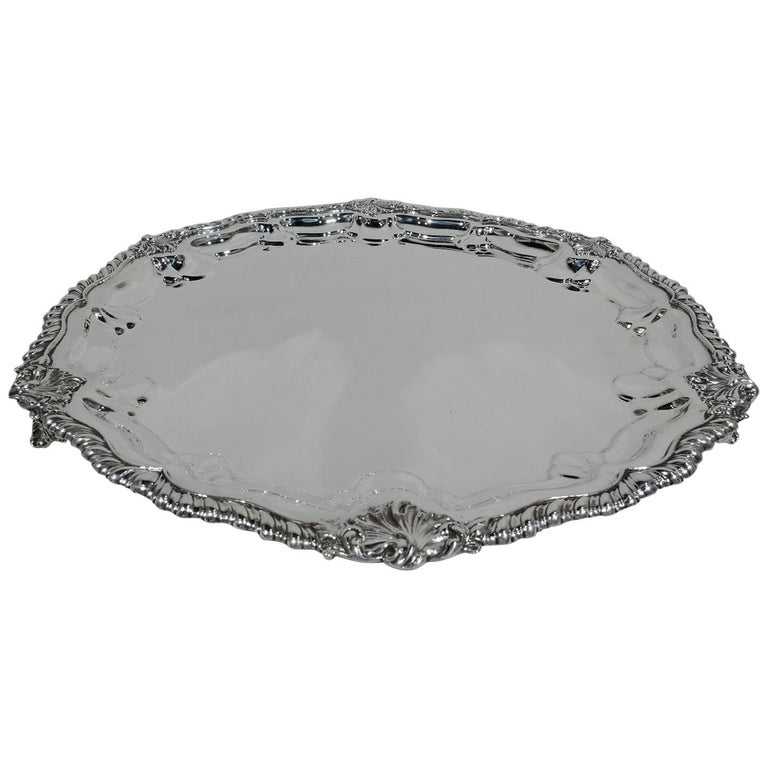 Antique Georgian Revival Sterling Silver Salver Tray by New York Maker For Sale