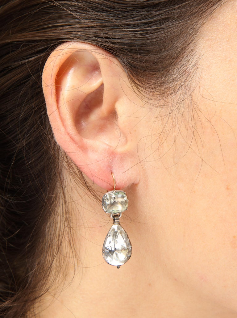 Antique Georgian Rock Crystal Earrings In Excellent Condition For Sale In Stamford, CT