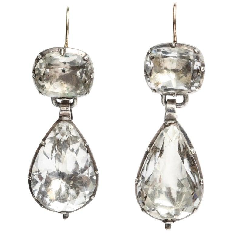 Antique Georgian Rock Crystal Earrings For Sale