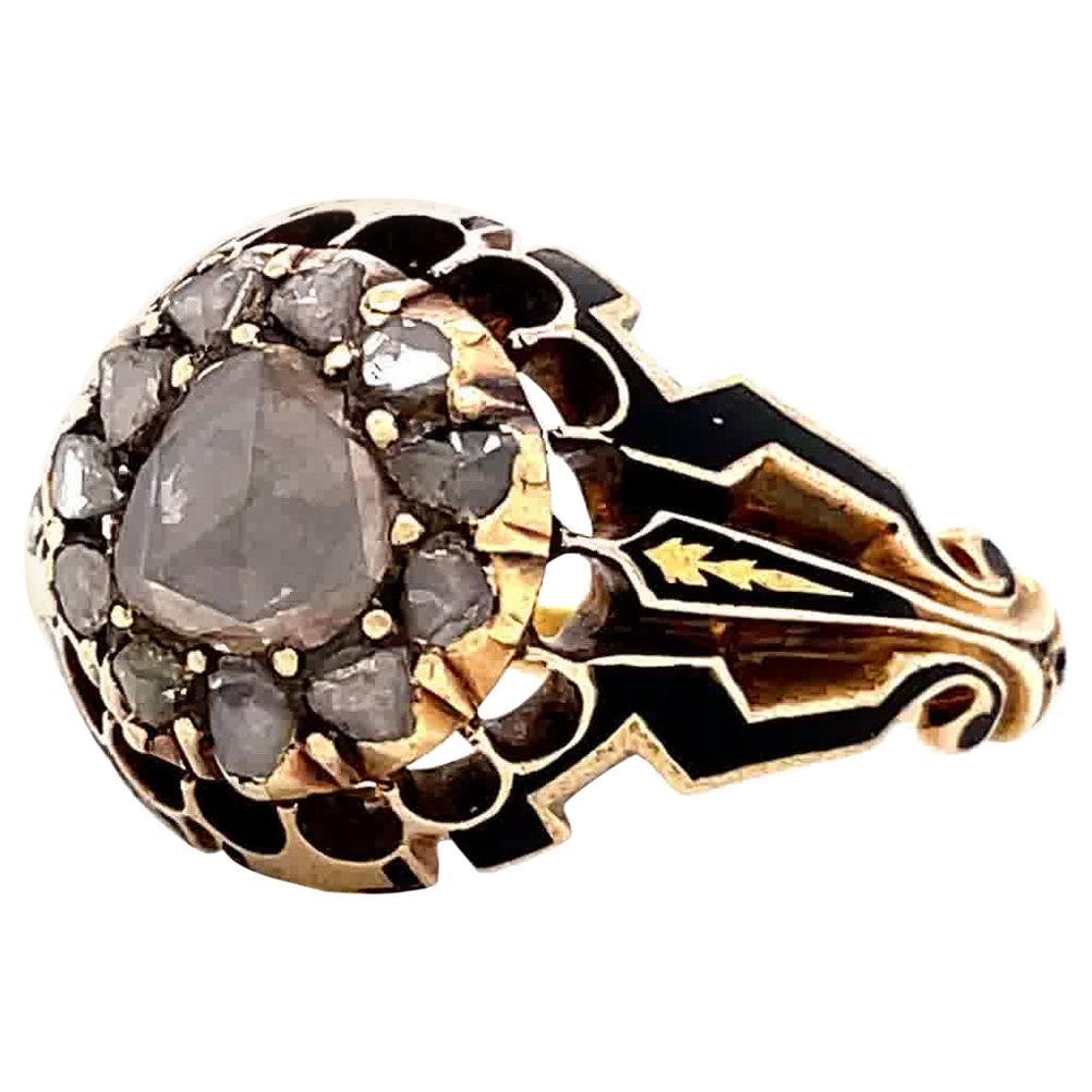 Antique Georgian Rose Cut Diamond Cluster Ring