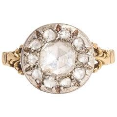 Antiker Georgischer Rosenschliff Diamant Cluster Ring
