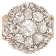 Antique Georgian Rose Cut Diamond Cobblestone Ring
