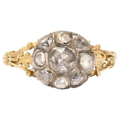 Antique Georgian Rose Cut Diamond Round Cluster Ring