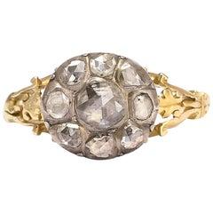 Antique Georgian Rose Cut Diamond Round Cluster Ring