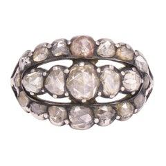 Antique Georgian Rose Cut Diamond Triple Row Ring