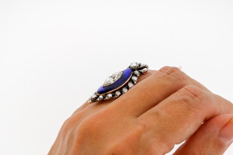 Rose Cut Antique Georgian Rosecut Diamond Blue Glass Gold Navette Ring For Sale