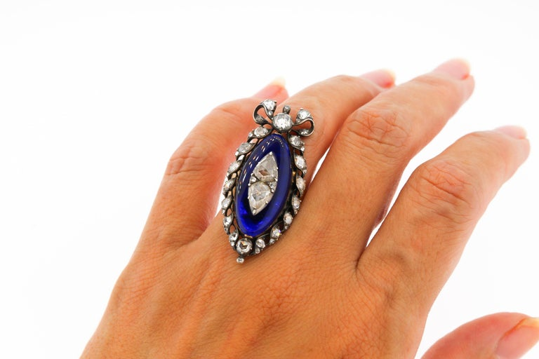Antique Georgian Rosecut Diamond Blue Glass Gold Navette Ring In Good Condition For Sale In New York, NY