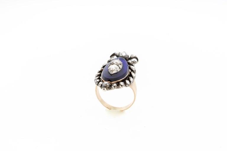 Antique Georgian Rosecut Diamond Blue Glass Gold Navette Ring For Sale 1