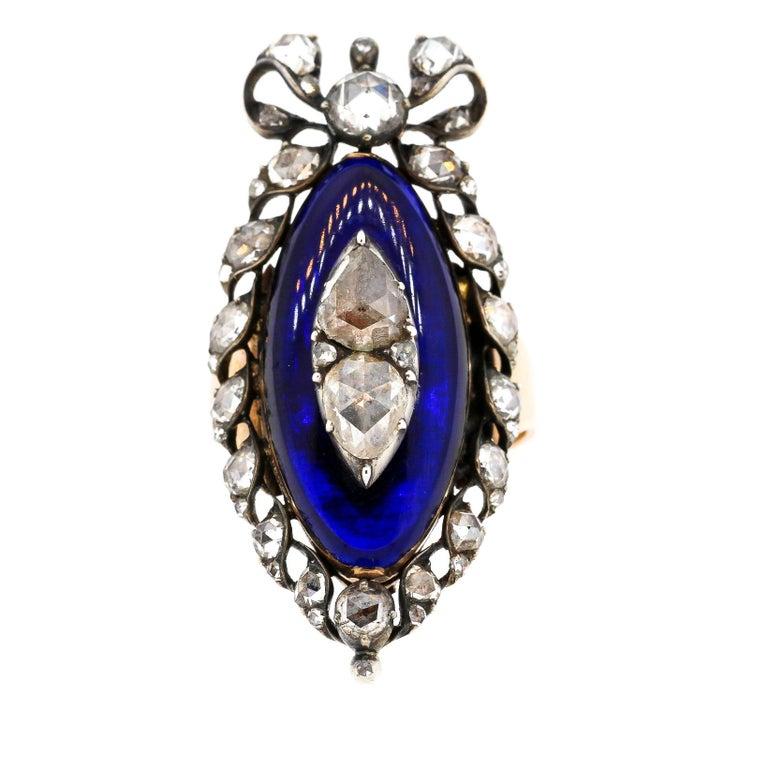 Antique Georgian Rosecut Diamond Blue Glass Gold Navette Ring For Sale