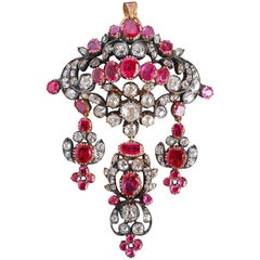 Antique Georgian Ruby and Diamond Pendant, 19th Century, England