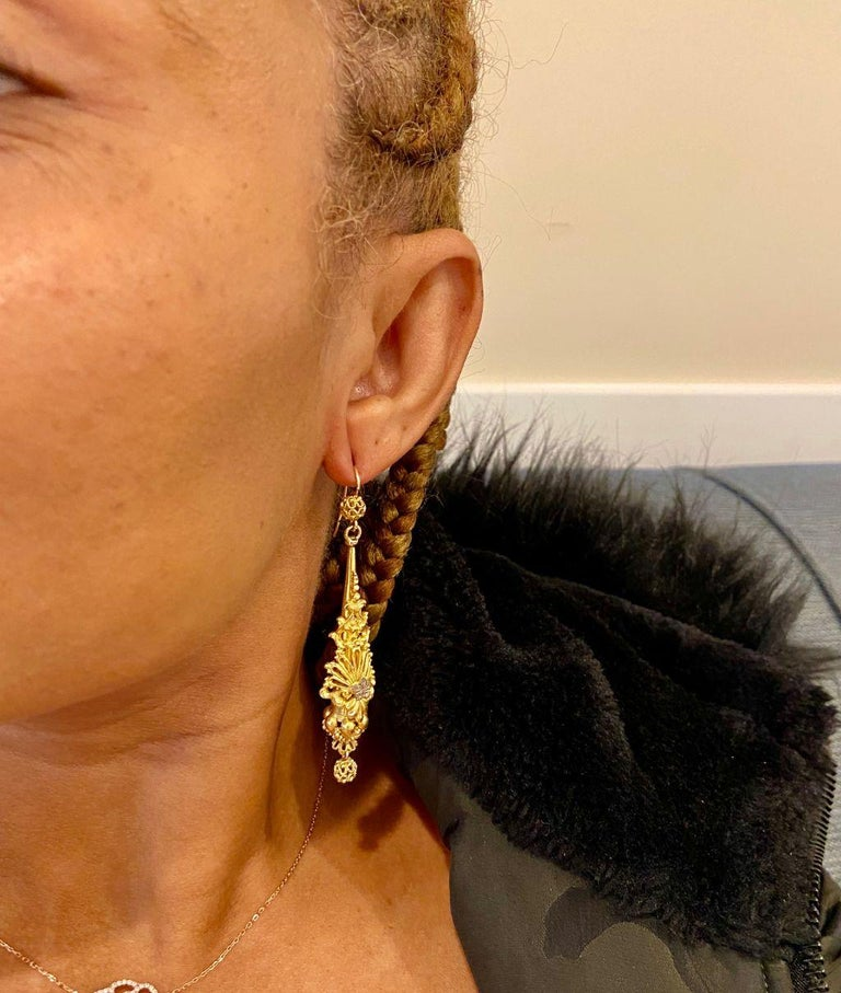 Women's or Men's Antique Georgian Sculptural Chandelier Earrings For Sale