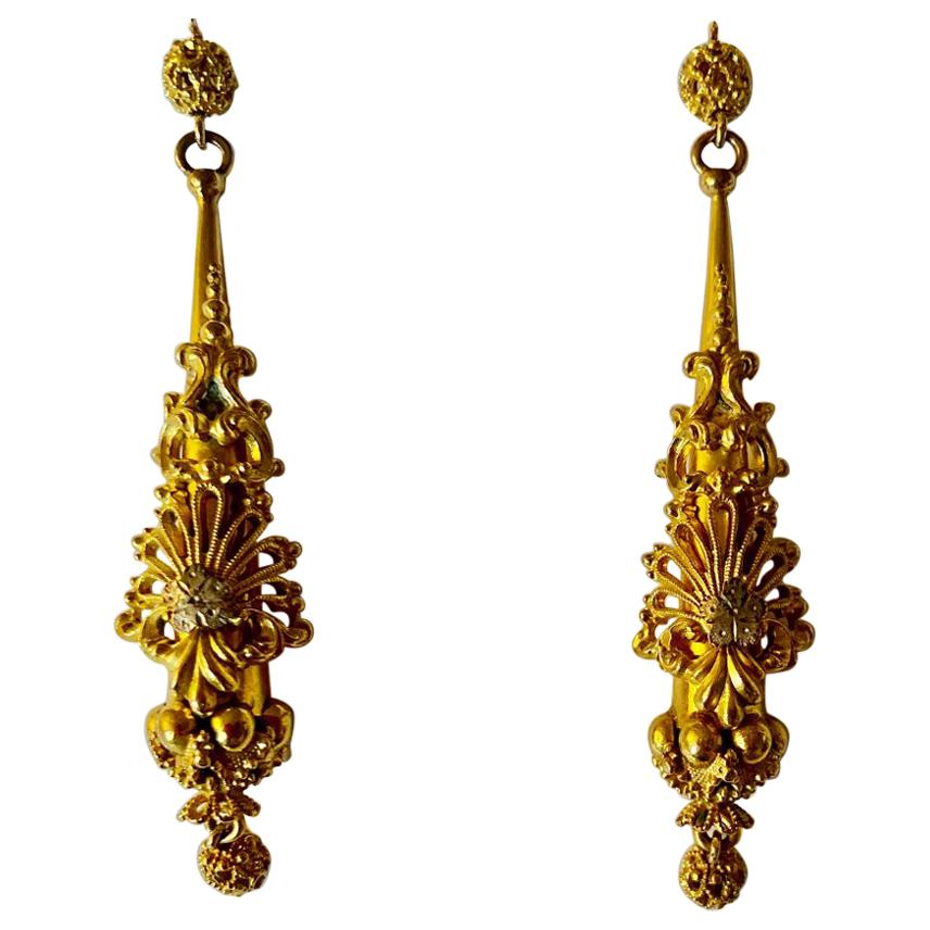 Antique Georgian Sculptural Chandelier Earrings