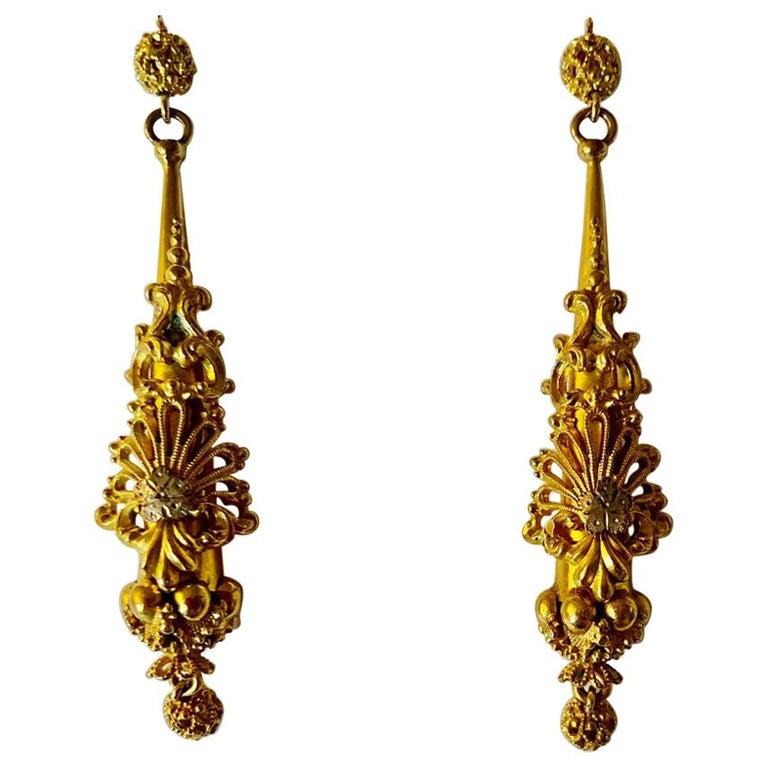 Antique Georgian Sculptural Chandelier Earrings For Sale
