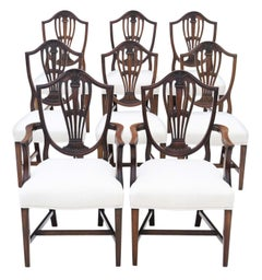 Antique Georgian Set of 8 '6+2' Mahogany Dining Chairs, circa 1800