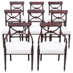 Antique Georgian Set of 8 '6+2' Mahogany Dining Chairs