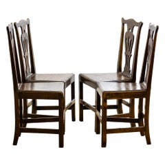 Antique Georgian Set of Four Country Chippendale Dining Chairs