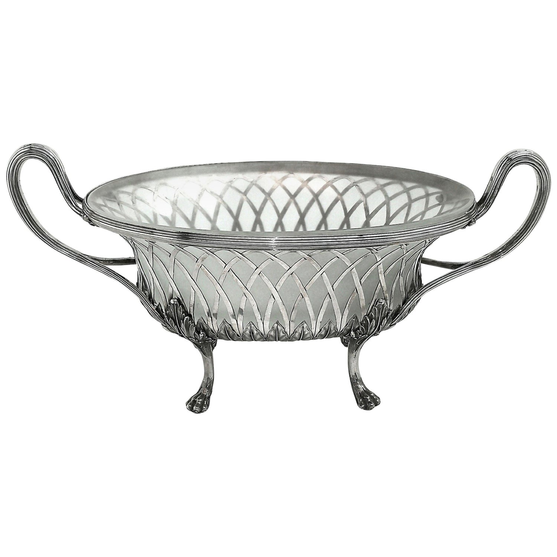 Antique Georgian Silver & Glass Dish / Basket / Jardiniere, 1795 Dessert Basket