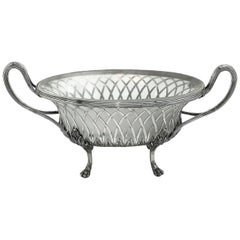 Antique Georgian Silver & Glass Dish / Basket / Jardiniere, 1795 Dessert Basket