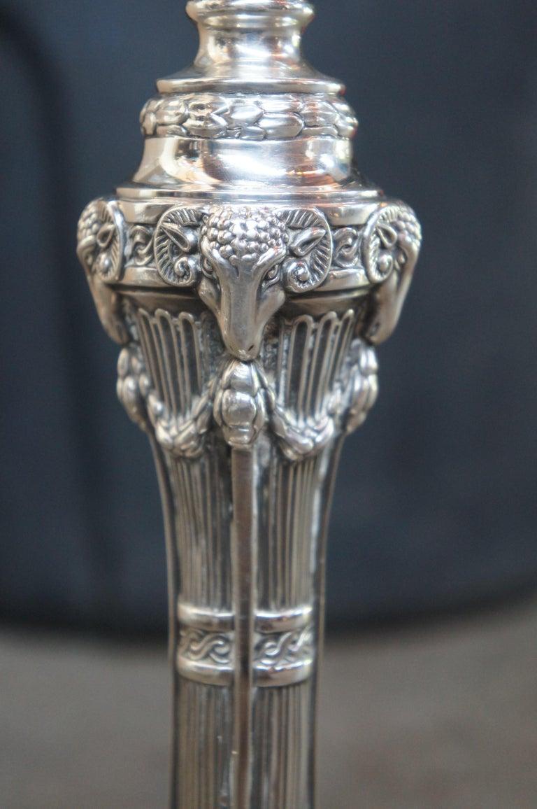 Antique Georgian Silver Plate Candelabra English Candlesticks Rams Head MS Rau For Sale 6