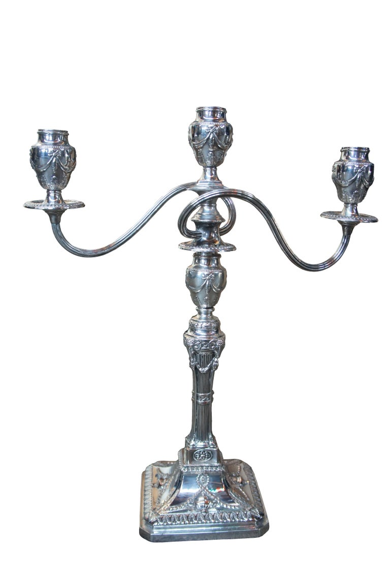 Victorian Antique Georgian Silver Plate Candelabra English Candlesticks Rams Head MS Rau For Sale