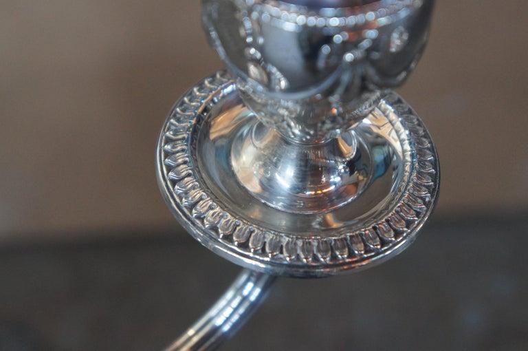 Antique Georgian Silver Plate Candelabra English Candlesticks Rams Head MS Rau For Sale 2