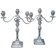 Antique Georgian Silver Plate Candelabra English Candlesticks Rams Head MS Rau