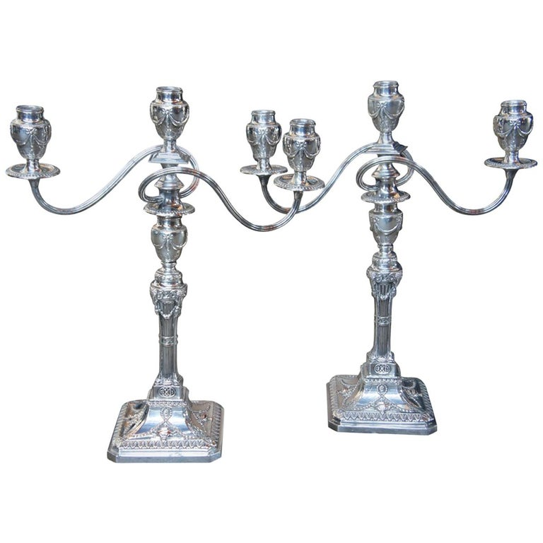 Antique Georgian Silver Plate Candelabra English Candlesticks Rams Head MS Rau For Sale