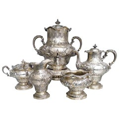 Antique Georgian Solid Silver Exceptional Tea and Coffee Set, 1883-1908