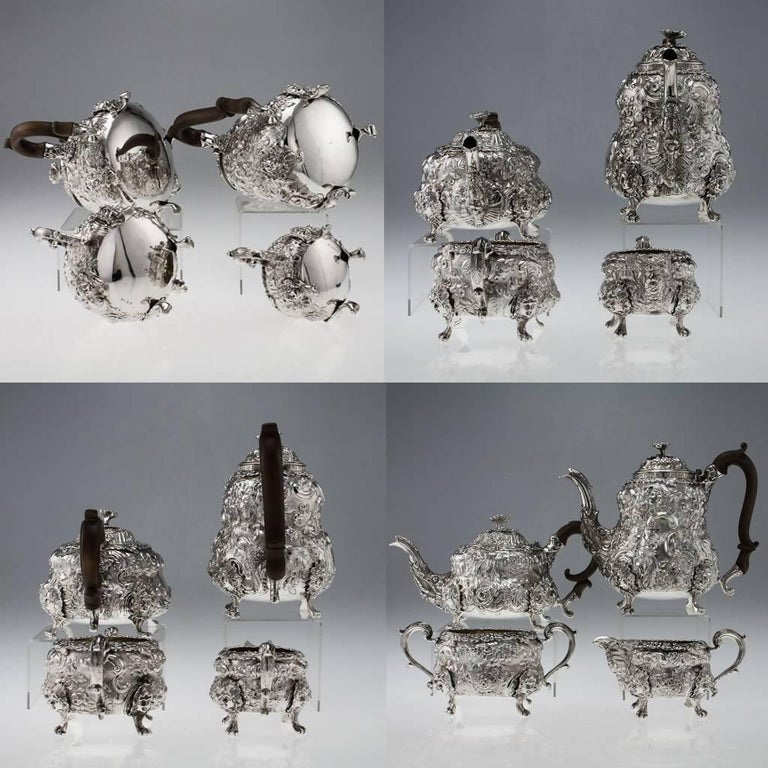 George III Antique Georgian Solid Silver Exceptional Tea and Coffee Set, circa 1818-1820 For Sale