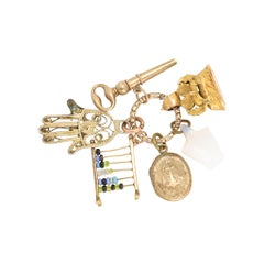 Antique Georgian Split Ring Pendant with Charms