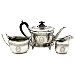 Antique Georgian Sterling Silver 4 Piece Tea Set 1800 Teapot on Tray