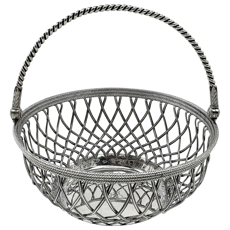 Antique Georgian Sterling Silver Basket 1780 Wire Work Cake / Bread / Serving
