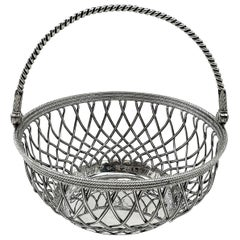 Antique Georgian Sterling Silver Basket 1780 Wire Work Cake / Bread / Serving