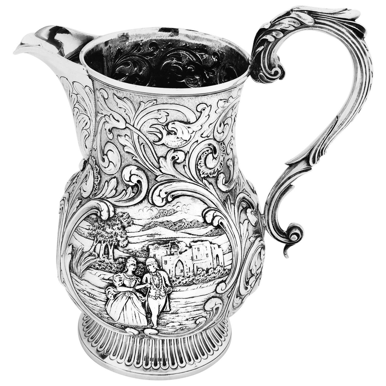 Antique Georgian Sterling Silver Beer Jug / Water Pitcher 1823 George IV