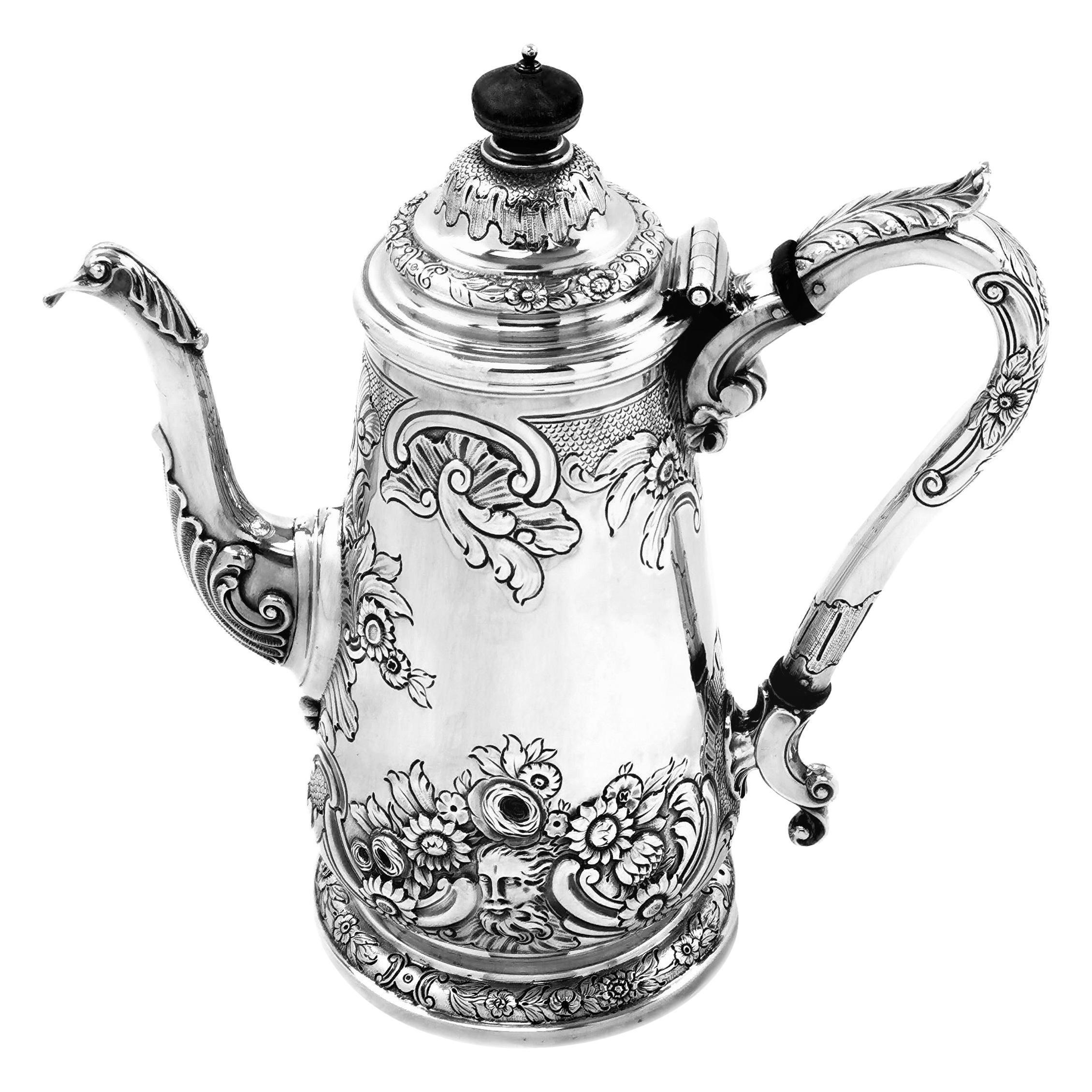 Antique Georgian Sterling Silver Coffee Pot, 1821
