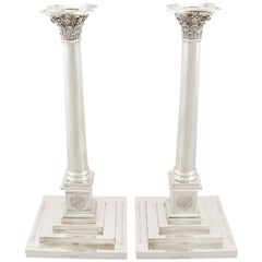 Antique 1803 Georgian Sterling Silver Column Candlesticks